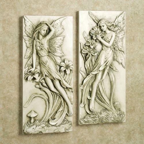 Fairies in Garden Wall Art Set Light Almond Set of Two