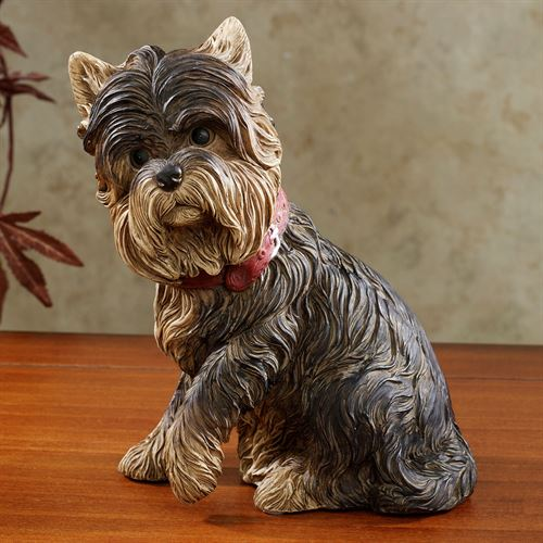 Yorkie Terrier Dog Sculpture Black/Tan