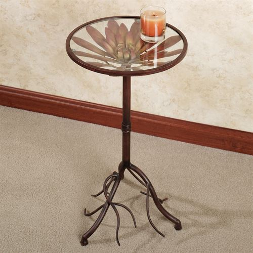 Floral Celebration Accent Table Claret