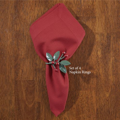 Leaves and Berries Holiday Napkin Rings Green Set of Four