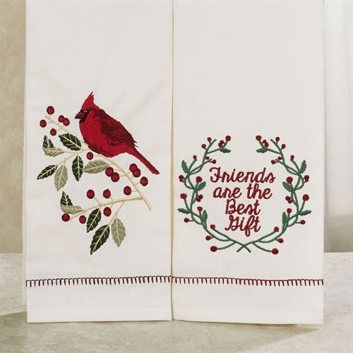 Cardinal Friends Holiday Dish Towels White Set of Two