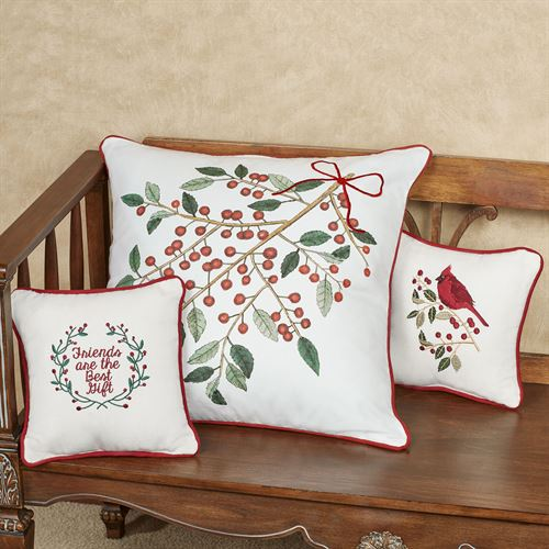 Holly Cardinal Decorative Pillow White 10 Square