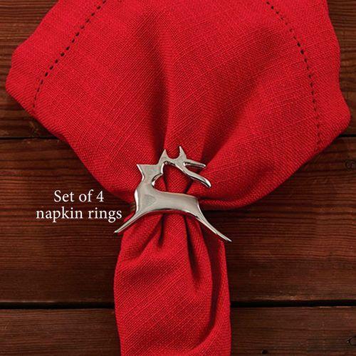 Prancer Reindeer Napkin Rings Silver Set of Four