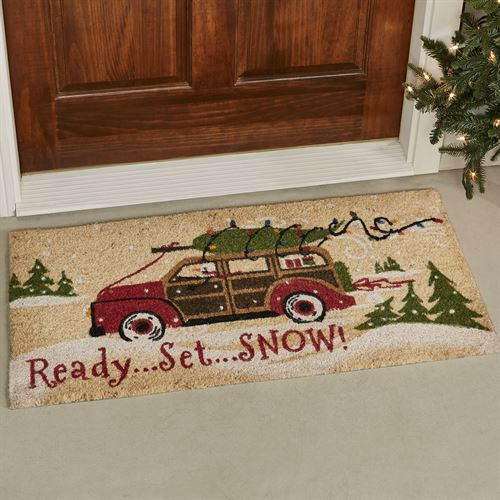 Ready Set Snow Holiday Doormat Red