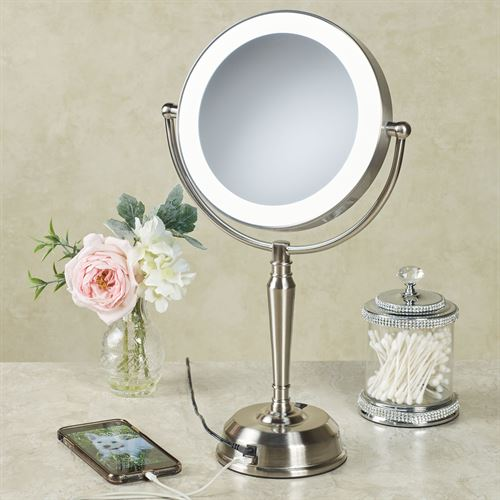 Magnifying LED Vanity Mirror with USB Port Satin Nickel