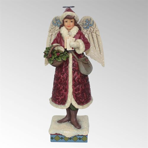 Merry Messenger Angel Figurine Burgundy