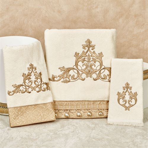 Monaco Bath Towel Set Light Cream Bath Hand Fingertip