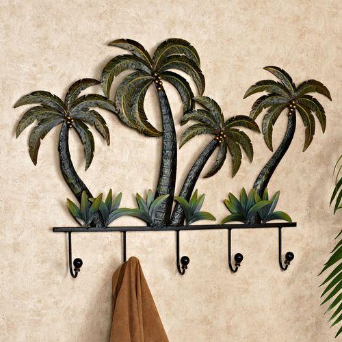 Palm Tree Wall Hook Rack Green