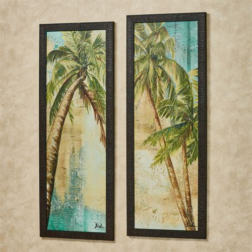 Beach Palm Tree Framed Wall Art Set
