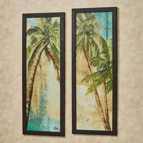 Beach Palm Framed Wall Art Multi Cool 2 Piece Set