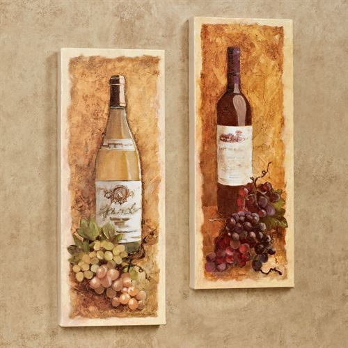 Merlot and Chardonnay Canvas Wall Art Set Golden Yellow Set of Two & Merlot and Chardonnay Wine Canvas Wall Art Set