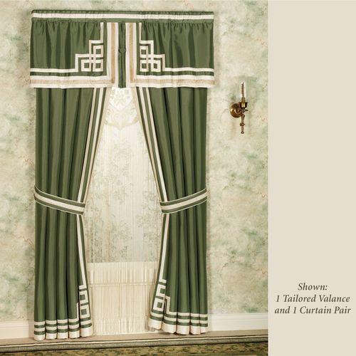 Wynhurst Tailored Curtain Pair Green Amber 84 x 84