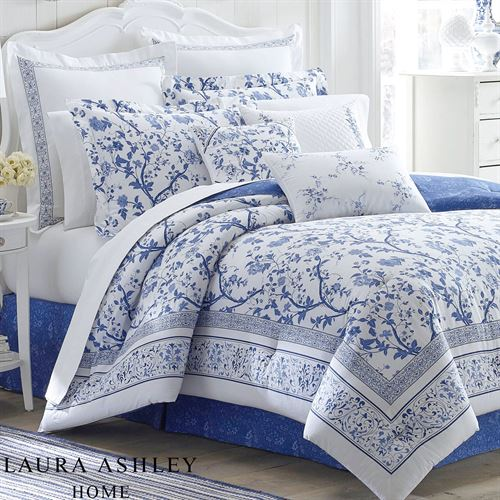 Charlotte Blue And White Floral Comforter Bedding By Laura