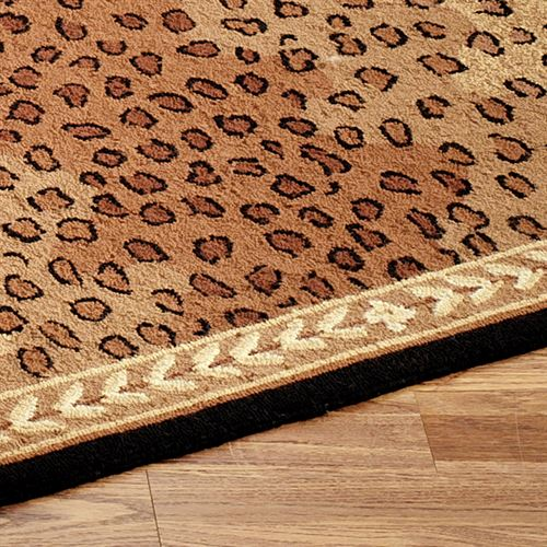 Leopard Rug Runner Black Brown