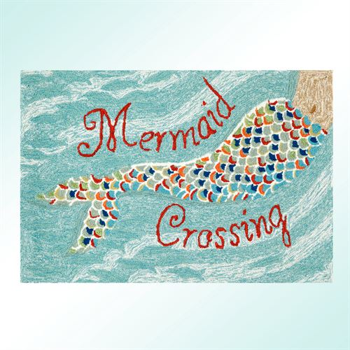 Mermaid Crossing Rectangle Rug Aqua