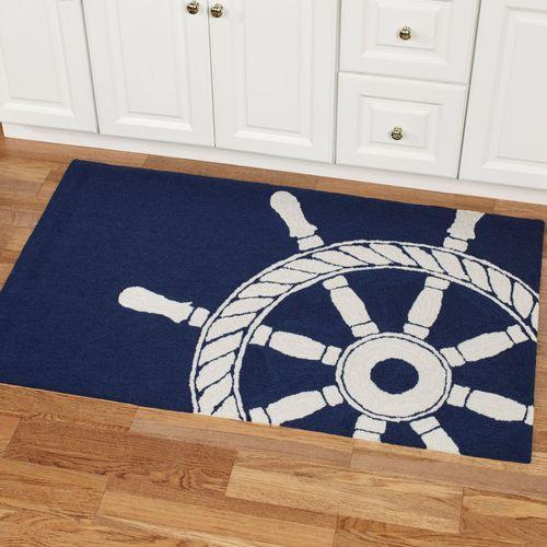Ship Wheel Accent Rug Navy 26 x 4