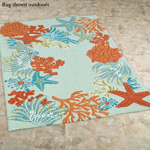 Ocean Scene Rectangle Rug Spring Green