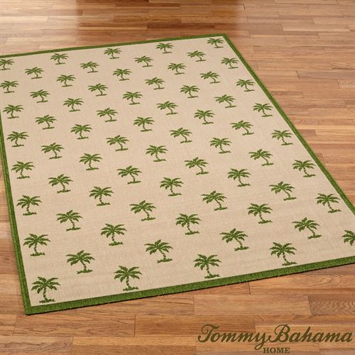 Groovy Palms Rectangle Rug Beige