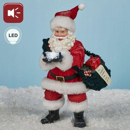 Snow Flakes Clothtique Santa Figurine Red