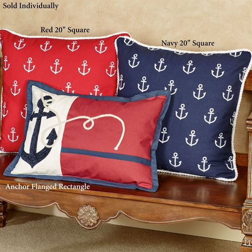 Anchor Flanged Pillow Red Rectangle