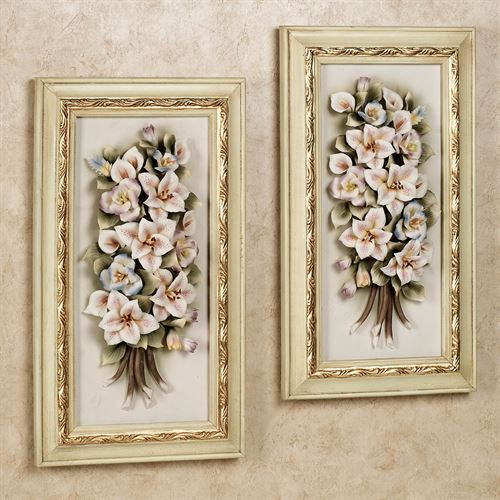Emely Floral Wall Plaque Set  Set of Two