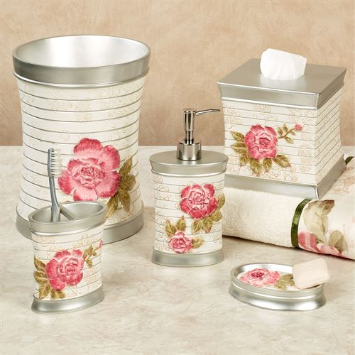 Spring Rose Floral Bath Accessories. Spring Rose Lotion Soap Dispenser  Light Cream