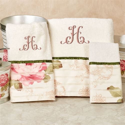 Spring Rose Bath Towel Set Light Cream Bath Hand Wash