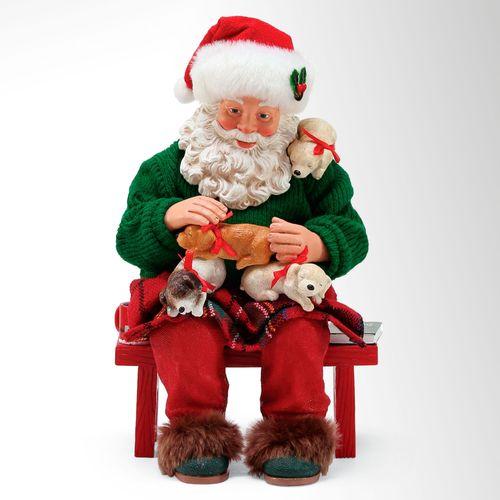 A Long Winters Nap Clothtique Santa Figurine Red