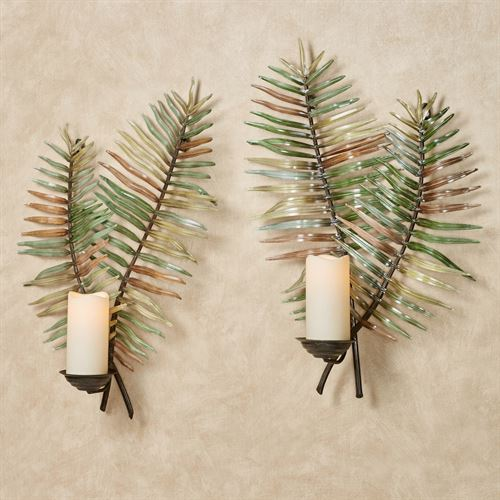 Palermo Leaf Wall Sconces Green Set of Two