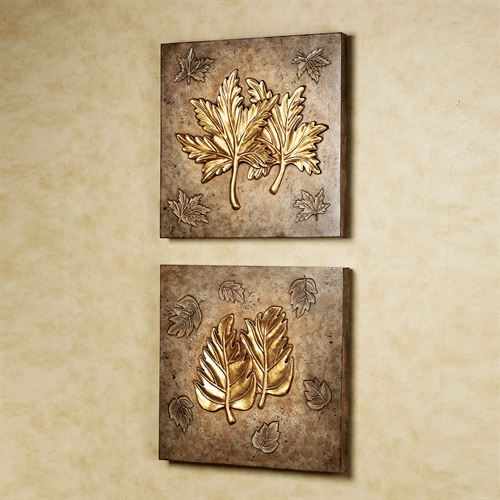 Leaf Collage Wall Plaque Set  Set of Two