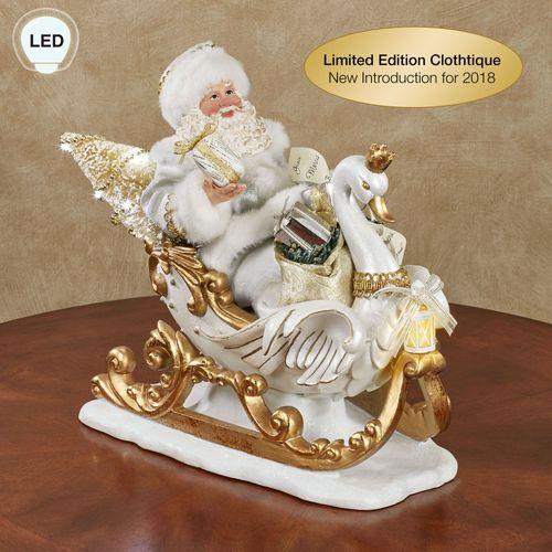 White Christmas Clothtique Santa Figurine White/Gold