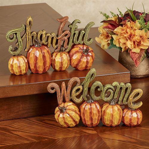 Harvest Pumpkin Fall Table Accents Multi Warm Set of Two