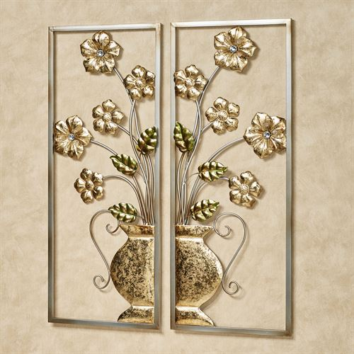 Maelynn Floral Wall Art Gold Set of Two