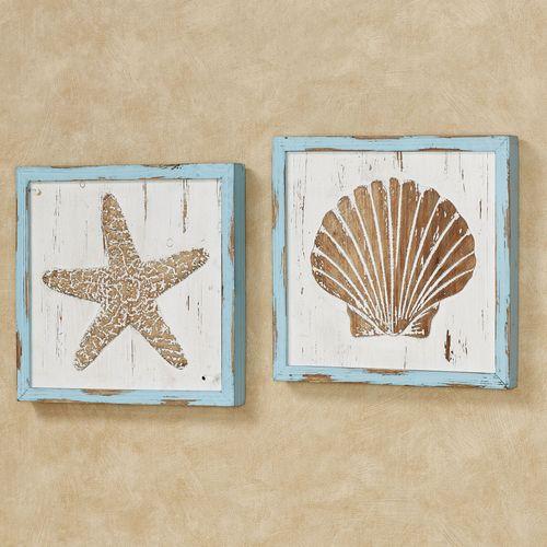 Seahorse Home Decor Wall Art Coastal Decor By Seashoresecrets: Seashore Starfish And Seashell Framed Wooden Coastal Wall