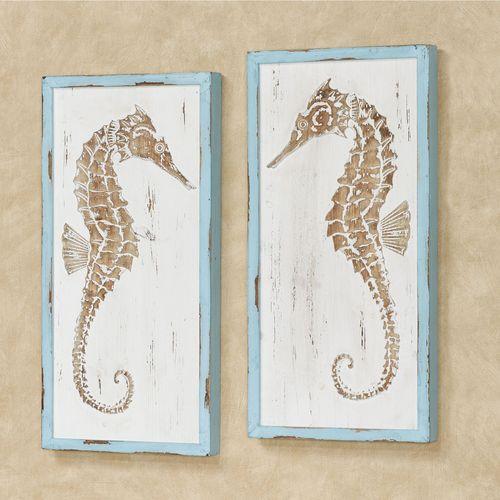 Seahorse Coastal Wall Art Weathered White Set of Two