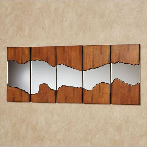 Canyon Horizons Mirrored Wall Art Regal Walnut Set of Five