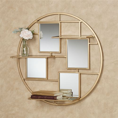 Brioni Mirrored Wall Art Shelf Gold