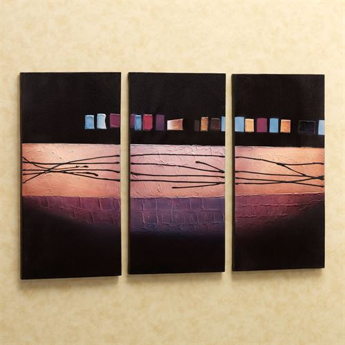 Urban Geometry Canvas Triptych  Set of Three