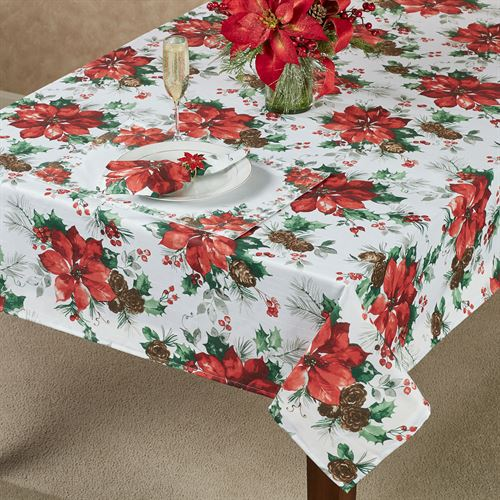 Christmas Watercolor Oblong Tablecloth Ivory