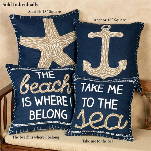 Beach Is Where I Belong Pillow Navy 18 Square