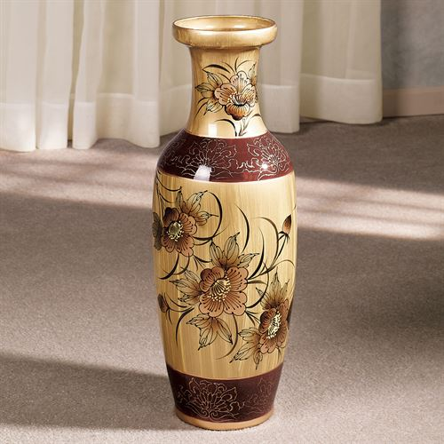 Asian Blooms Floor Vase on pottery lids, vases from india, vases with ornaments in it, vases with bottles, vases with top sealer, vases worth money, vases with liners, vases with caps, vases in bulk, vases with handles, vases with corks,