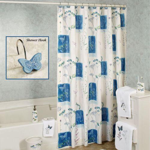 Indigo Wildflowers Shower Curtain White 70 X 72