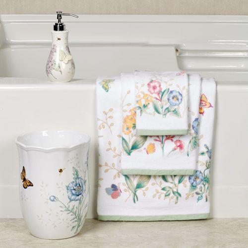 Butterfly Meadow Bath Towel Set White Bath Hand Fingertip