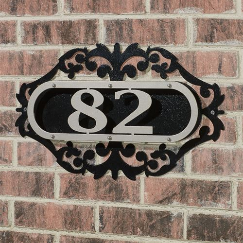 LaRoyal House Number Plaque Silver/Black One to Three Numbers