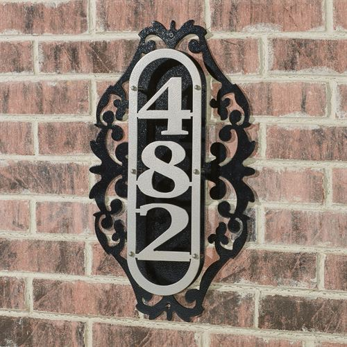 LaRoyal Vertical House Number Plaque Silver/Black One to Three Numbers