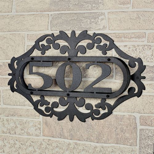 LaRoyal House Number Plaque Black One to Three Numbers