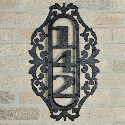 LaRoyal Vertical House Number Plaque Black One to Three Numbers