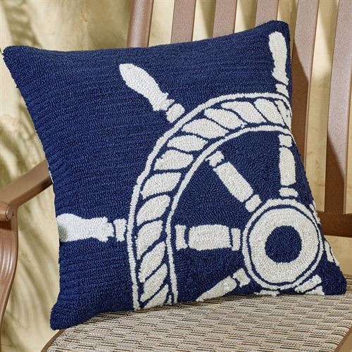 Ship Wheel Pillow Navy 18 Square