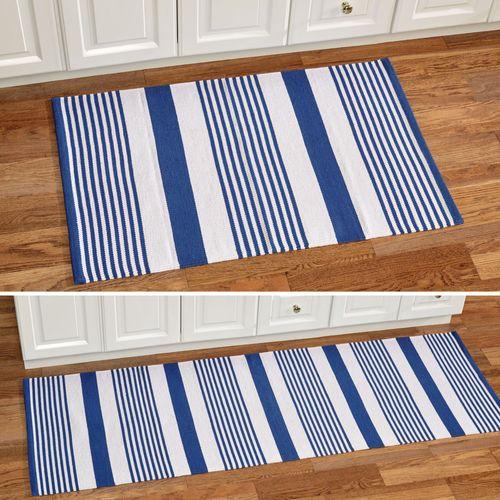 Summer Stripe Woven Accent Rug Blue 2 x 3
