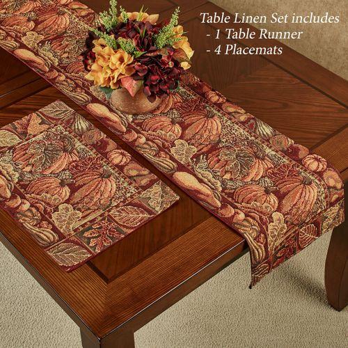 Harvest Table Linens Multi Warm Five Piece Set
